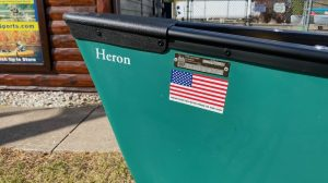 Wenonah Heron – T-Formex, Green, Black Vinyl Trim, Ash Yoke, Hung Web Seats – Blem