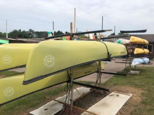 Wenonah Southfork Canoe- Three Phase Rotational Molding, Black Vinyl Gunwales, Hung Web Seats – Yellow – Used