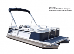 Paddle King – 2021 Lo Pro Cruiser Mini Pontoon with Custom Trailer – Navy/White/Grey