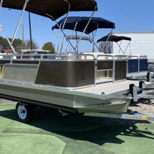 Paddle King – 2021 Lo Pro Angler Mini Pontoon Boat with Half Gate, Side Lounge, Middle Swivel Fishing Seat and Custom Trailer – Caribou Brown/Champagne/Cream