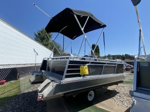 Paddle King – 2021 Lo Pro Cruiser Mini Pontoon with Custom Trailer – Black/Charcoal/Grey