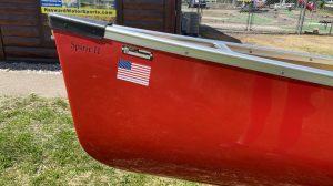 Wenonah Spirit II – Aramid Ultra Light – Red, Silver Trim, Ash Yoke, Aramid Sliding Bow Seat, Foot Brace Installed – Blem